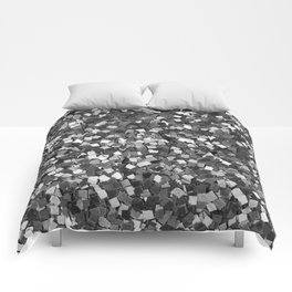 Dazzling Sparkles (Black and White) Comforters