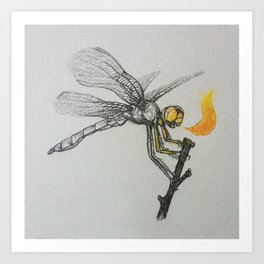 Fire-breathing Dragonfly Art Print
