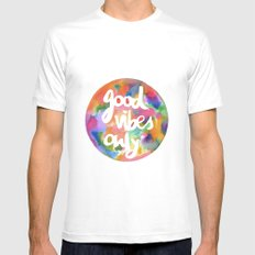 Good Vibes Only White Mens Fitted Tee MEDIUM