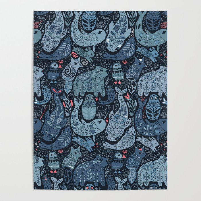 Arctic animals. Polar bear, narwhal, seal, fox, puffin, whale Poster