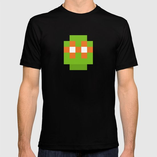 hero pixel green orange T-shirt