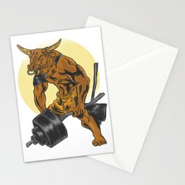 Minotaur with dumbbell Stationery Cards