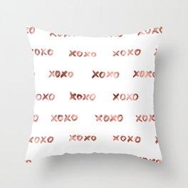 XOXO Fashion Love Rose Gold Pattern Throw Pillow