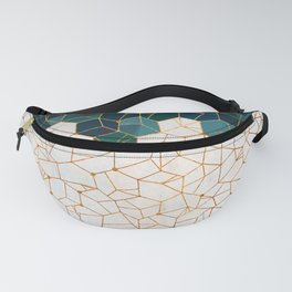 Teal and Cream Organic Hexagons Fanny Pack