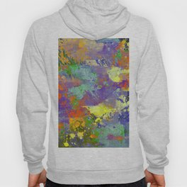 Signs Of Life - Vibrant, random paint splatter multi coloured abstract Hoody