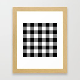 Black and White Buffalo Plaid Framed Art Print