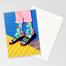 Demo - memphis retro 80s throwback hightop socks styles bright happy art slides Stationery Cards