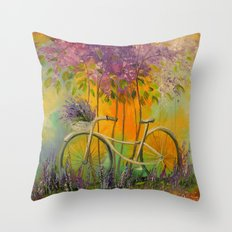 White Bicycle Throw Pillow