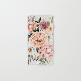 Muted Peonies and Poppies Hand & Bath Towel