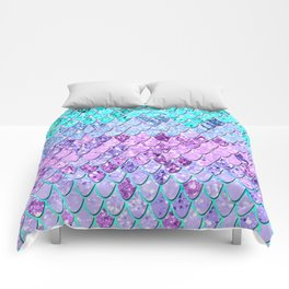 Mermaid Scales with Unicorn Girls Glitter #9 #shiny #decor #art #society6 Comforters