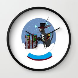 A Snow Globe with a Steampunk Kitty Wall Clock