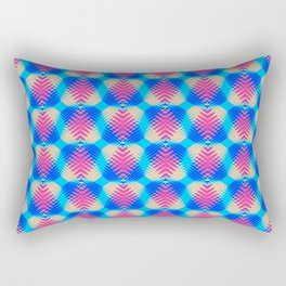 Pattern of blue hearts from the sky stripes on a yellow background in a bright intersection. Rectangular Pillow