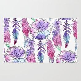 Bohemian violet lavender pink watercolor dreamcatcher Rug