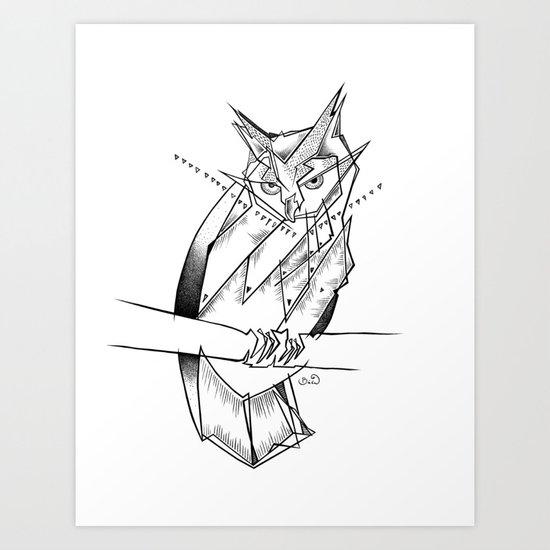 eagle owl-WHITE Art Print