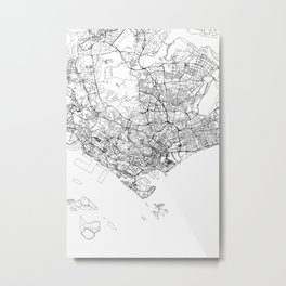 Singapore White Map Metal Print