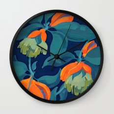 Tropical orange fruit tree Wall Clock