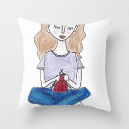 Knitting in color Throw Pillow