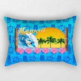 Hawaiian Surfing And Tiki Pattern Rectangular Pillow