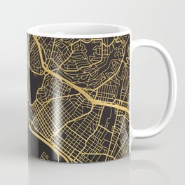 OAKLAND CALIFORNIA GOLD ON BLACK CITY MAP Coffee Mug