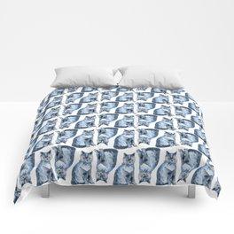 Grey cat watercolour Comforters