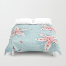 Beautiful Abstract Flowers In Red And White Duvet Cover