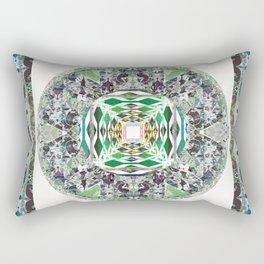 Moss Green and Deep Teal Enchanted Mandala Rectangular Pillow
