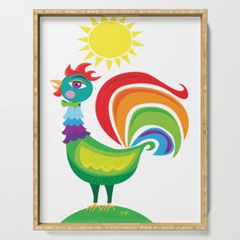 Rainbow Rooster Serving Tray