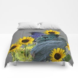 THREE CROWS/RAVENS  YELLOW SUNFLOWERS ON GREY ART Comforters