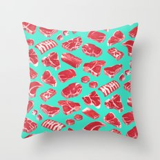 MEAT MARKET, by Frank-Joseph Throw Pillow
