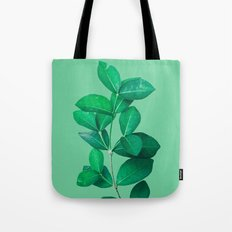 Green Leaves in Green background Tote Bag