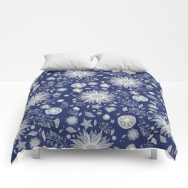 Beautiful Flowers in Navy Vintage Floral Design Comforters