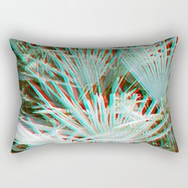 Glitch art / retro 3D style photography | Green, Turquoise, Cyan and pink tropical leaves Rectangular Pillow