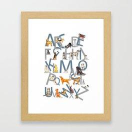 Dog Breed Alphabet Framed Art Print