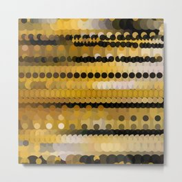 HONEY bright gold and black abstract honeycomb design Metal Print