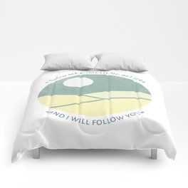 Inspirational round print with landscape Comforters
