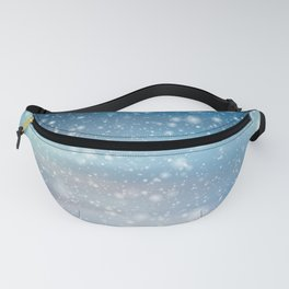 Snow Bokeh Blue Pattern Winter Snowing Abstract Fanny Pack