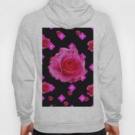 Black Fuchsia Pink Roses & Patterns Hoody