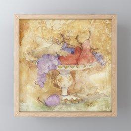 Watercolor Fruit on Clay Fresco Framed Mini Art Print