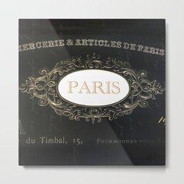 Paris Black White Gold Typography Home Decor Metal Print