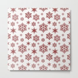 Large Dark Christmas Candy Apple Red Snowflakes on White Metal Print