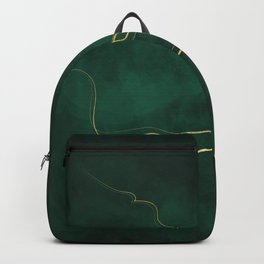 Kintsugi Emerald #green #gold #kintsugi #japan #marble #watercolor #abstract Backpack