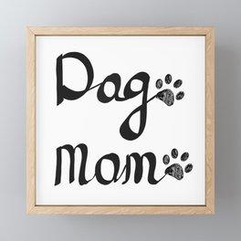 Calligraphic handwriting ''Dog Mom'' text. Doodle black paw print Framed Mini Art Print