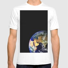 Earth Globe Space Mens Fitted Tee White MEDIUM