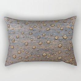Water Drops on Wood 6 Rectangular Pillow