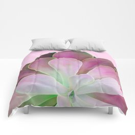 Acid Green and Pink Echeveria Comforters