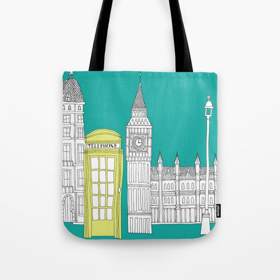 London - City prints // Red Telephone Box Tote Bag