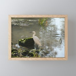 White Egret Framed Mini Art Print