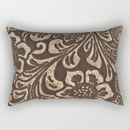 Gold & Brown Flowered Tooled Leather Rectangular Pillow