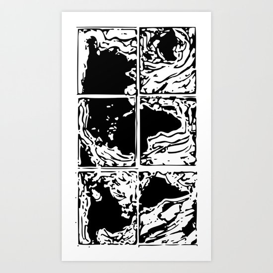 Monotype Map (Black) Art Print