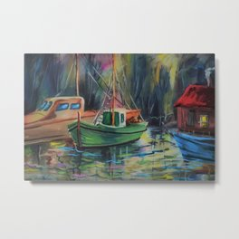 'Fishing Village in the Glimmer of Twilight' maritime / nautical painting Metal Print
